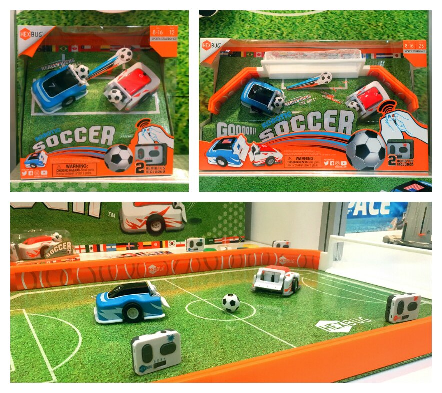 HEXBUG Robotic Soccer packaging shots and when products are set up