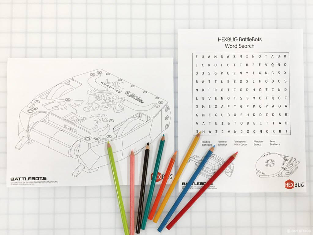 Supplies: BattleBot pages and colored pencils